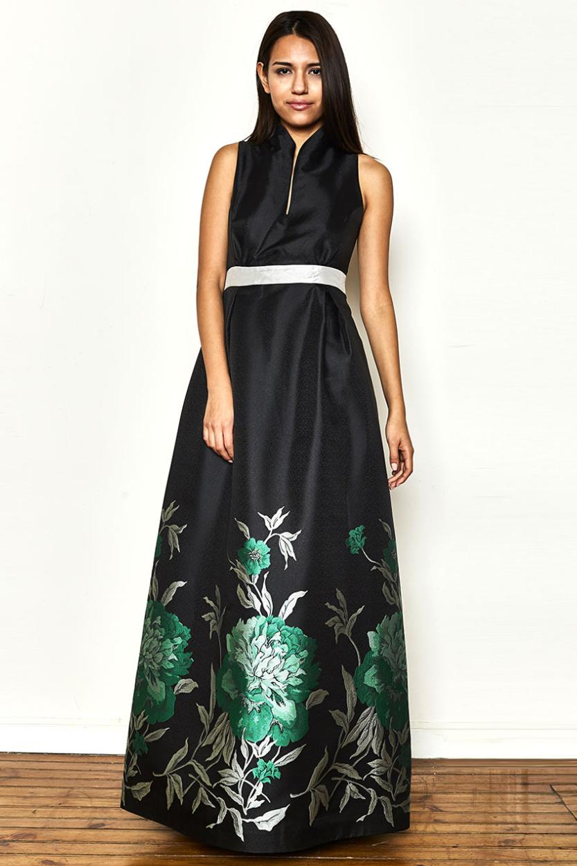 "DRESS ""Flores Nocturnas"" with sort sleeves"
